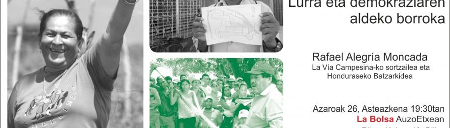 Charla-coloquio sobre la realidad hondureña: Lucha por la tierra, lucha por la democracia. Lurra ta demokraziaren aldeko borroka. Image